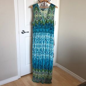 Dresses & Skirts - 🖤2 for $20🖤 Green & Blue Printed Maxi Dress